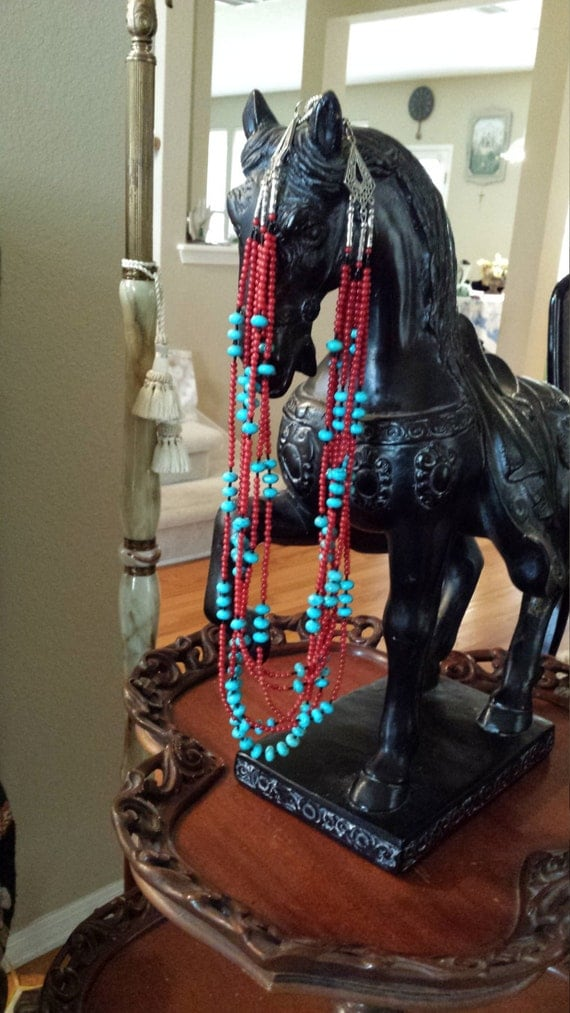 Turquoise and coral six strand long necklace