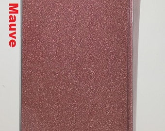 Vinyl Checkbook cover, Glitter Dusty Mauve Pink, Scrapbook style,Duplicate or Single Checks, No wait Ready to Ship