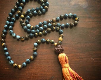 The Shaman Prayer Mala Necklace, for Yang energy, for masculinity and strength that you find when in deep connection with Earth.