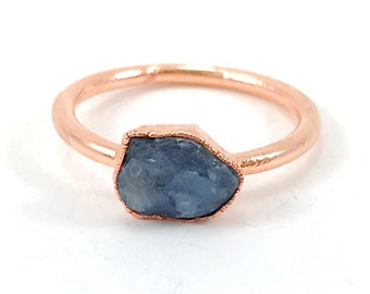 Sapphire Ring, Raw Stone Ring, Raw Crystal, Electroformed Ring, Copper Ring, Blue Gemstone, September Birthstone, Stacking Ring, Healing