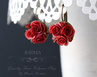 Small Earrings With Dark Red Roses Made From Polymer Clay