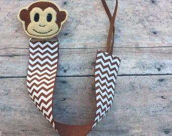 Monkey Pacifier Clip - Paci Clip - Binky Clip - Baby Clips - Baby Gift - Pacifier Strap - Ribbon Pacifier Holder - Monkey - Boy paci holder