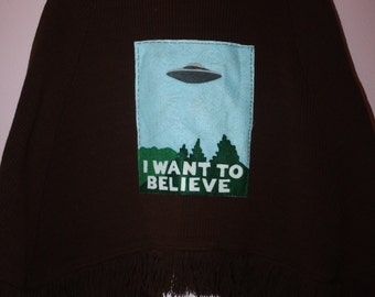 I want to believe one size fits all upcycled reconstructed pancho