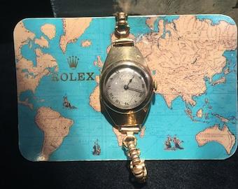 Rare & Fine Edwardian Gold ladies' ROLEX bracelet watch. Manual 15 jewels. Circa 1915.