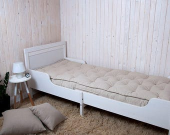 """7"""" Twin, Single XL or Twin XL Wool Mattress, Handmade, Non-toxic / 43 pounds of 100% Pure New Wool Filling / Custom sizes on request"""