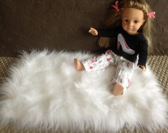 American Girl Fur Rug, 18 inch Doll House Rug, Living room Fur Rug, Make a Room.