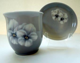 Royal Copenhagen Set Cup Dish Pair Denmark Blue White Flowers Wedding Anniversary Birthday Gift Hand Painted 8569 Bing Grondahl