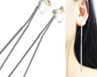 Invisible Clip On earrings 14G Ear Threader Earrings, Ear Thread, Threaded Earrings, Wedding Bar Dangle Clip on earring, Bridal Clip-ons