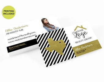Gold State Realty Printed Business Cards - business cards,business card design,custom business card,cards,printing,striped,keller williams