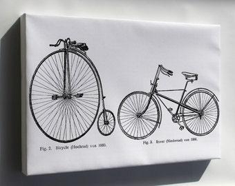 Canvas 24x36; Penny Farthing And Safety Bicycle