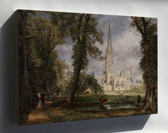 Canvas 16x24; Salisbury Cathedral From The Bishop'S Garden By John Constable C1826