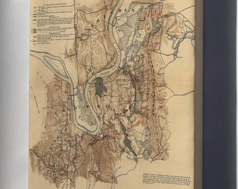 Canvas 16x24; Battlefield Map Of Chattanooga 1863