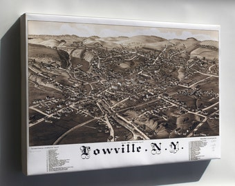 Canvas 16x24; Map Of Lowville New York 1885