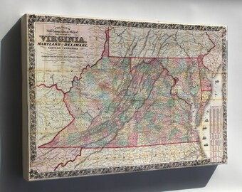 Canvas 16x24; Topography Map Virginia Maryland Delaware 1862 P3