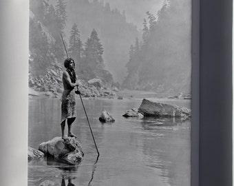 Canvas 16x24; Hupa Indian Fishing Smoky Day At The Sugar Bowl--Hupa, C. 1923. Hupa Man With Spear