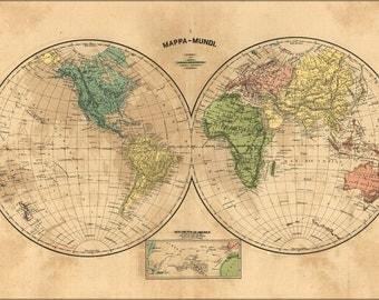 16x24 Poster; Mappa-Mundi Map Of The World 1868 In Portuguese