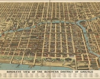 16x24 Poster; Birdseye Map Of Chicago Business District 1898