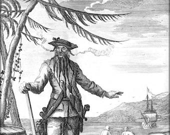 "16x24 Poster; Blackbeard The Pirate""Capt. Teach Alias Black-Beard Edward Teach"