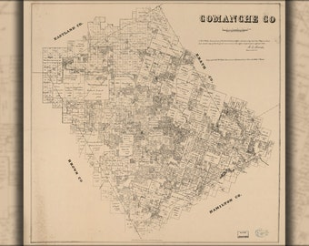 16x24 Poster; Map Of Comanche County Texas 1879