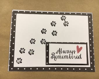 Handmade Pet Sympathy Greet Card
