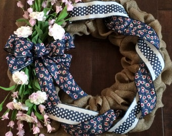 Spring Burlap Wreath - Burlap Wreath - Large Spring Wreath - Front Door Wreath for Spring - Navy and Pink Ribbon and Floral Wreath