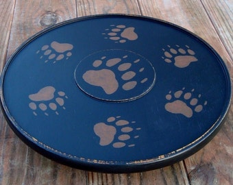 lazy susan turntable spinning tray ~ black bear paw ~ rustic lodge log cabin