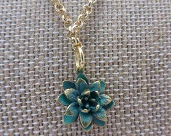 Patina Brass Lotus Flower Necklace