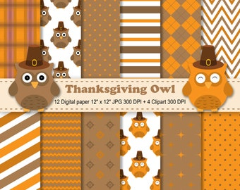 Thanksgiving Owls Digital Paper, Thanksgiving Owls Clipart, Fall Digital Paper, Autumn Digital Paper, Owls Digital Paper, Commercial Use.