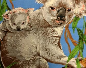 Koala panel of fabric. baby koala bear quilters cotton quilting 1120