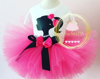 Barbie birthday outfit - hot pink birthday theme -  birthday tutu - barbie birthday dress