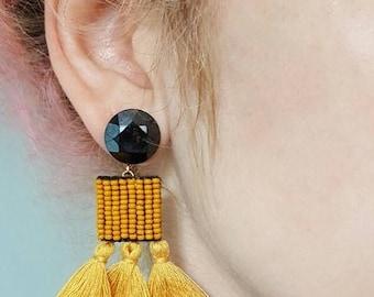 Tassel Earrings, Mustard Yellow Earrings, Handmade Bead Embroidered Tassel Earrings, Colour Trend 17/18 Jewelry by Detail London.
