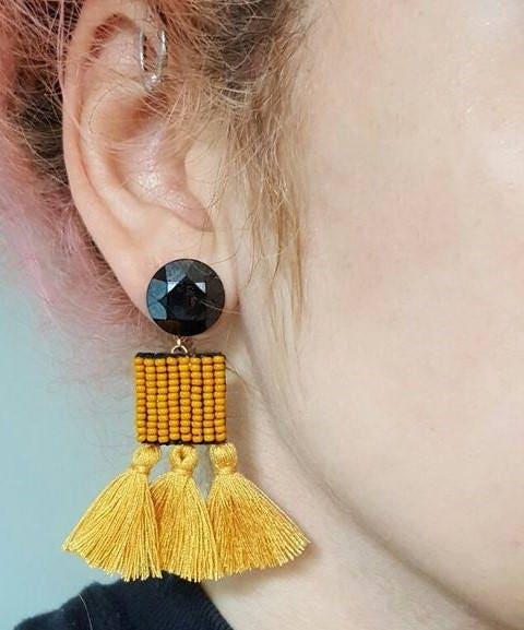 Tassel earrings mustard yellow earrings handmade bead for Mustard colored costume jewelry