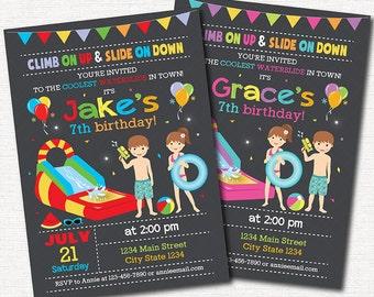 Water Slide Birthday Invitation, Water slide Invite, Pool Invitation, Boys, Girls Invitation, Printable