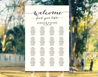 Wedding Seating Chart Template, Welcome Find Your Table Poster Printable in FOUR Sizes -  16x20, 18x24, 20x30, 24x36, Reception Sign
