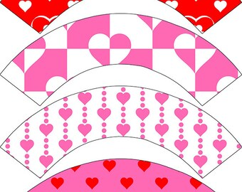 Cupcake Wrapper Valentine's Day Themed Party,  Printable Cupcake Wrappers, DIY Valentine Decorations,  INSTANT DOWNLOAD, Red and White