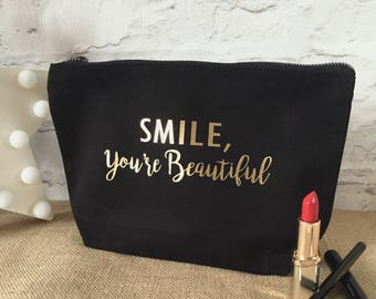Smile, You're Beautiful Medium Make Up Cosmetic Bag - FREE POSTAGE