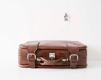 Brown, retro 70's suitcase, suitcase, travel bag, faux leather