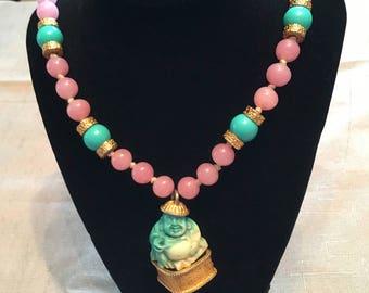 1970s Rose Quartz and Jade Buddha Pendant