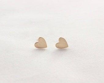 Tiny Gold Heart Earrings // 14k Gold Filled Stud Earrings