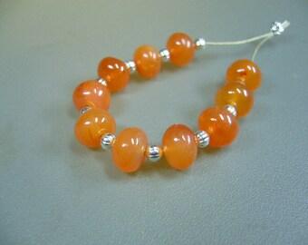 Carnelian Big Smooth Rondelle Beads Set of 10