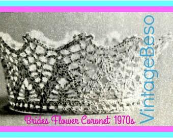 INSTANT DOWNlOAD - PdF Pattern - Crown Vintage Crochet Pattern 1970s Bride Keepsake Pattern Coronet Pattern Tiara Cupcake + FREE PAttERN