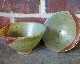 A Pair of Handmade Ceramic Bowls - Copper Green and Rusty Brown