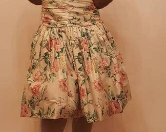80s floral dress with crinoline