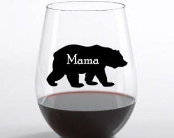 Mama Bear Wine Glass Decal-Mother's Day Sticker-Wine Glass Sticker-Mother's Day Gift