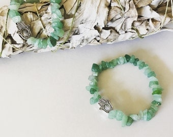 Amazonite is a mint green bracelet with hamsa protection charm