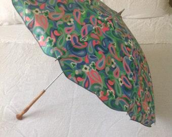 Vintage retro sun umbrella bamboo handle