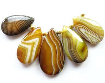 5 pcs Striped Brown Agate Teardrop Pendant Bead Set Loose Bead. 36x20x6mm - 28x15x6mm