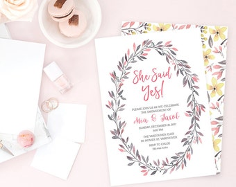 Wreath Engagement Party Invitation, Floral Engagement Party Invitation, Printable She Said Yes Invitation, Pink Yellow Flowers Invite