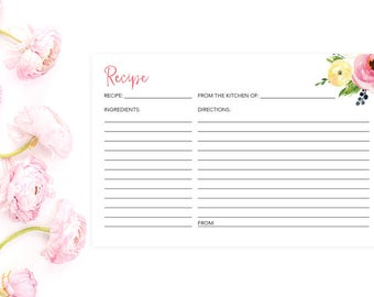 Printable Recipe Card, Recipe Card, Floral Recipe Card, Bridal Shower Recipe Card, 4x6 Recipe Cards, INSTANT DOWNLOAD