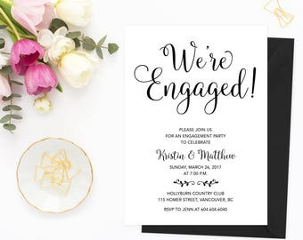 Engagement Invitation, Printable Engagement Party Invitation, Printable Engagement Party Invitation, We're Engaged, Engagement Party Invites